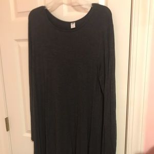 Dark Grey Knit Long-Sleeve Dress